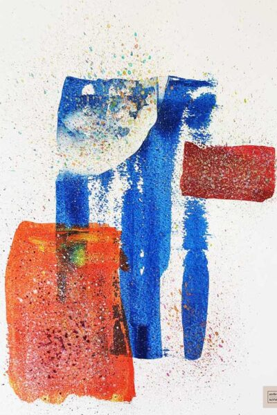 atelier KONG artist abstract artworks affordable prints Los Angeles artist Healing Blues Orange Red White