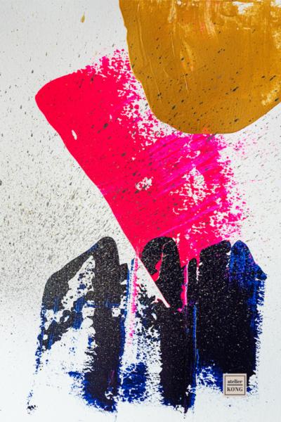 atelier KONG abstract art blues gold neon pink wall art decor healing abstract artist