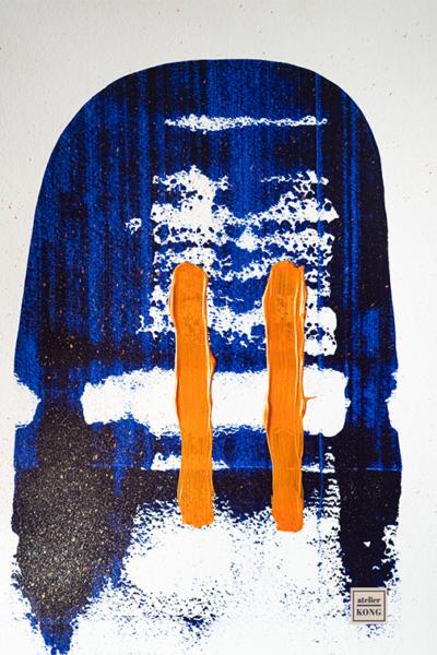 atelier KONG abstract art blues orange wall art decor healing abstract artist
