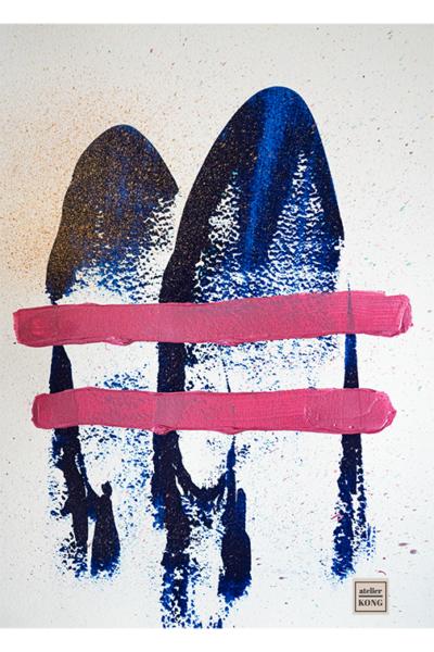 atelier KONG abstract art blues pinks wall art decor healing abstract artist