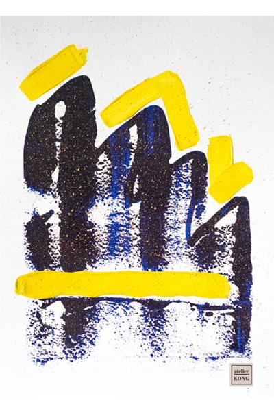 atelier KONG abstract art blues yellows wall art decor healing abstract artist